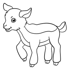 Foto op Plexiglas Sprookjeswereld Coloring pages. Farm animals. Little cute goatling smiles.