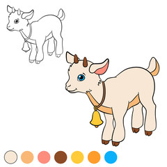 Coloring page. Color me: goat. Little cute baby goat.