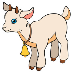 Cartoon farm animals for kids. Little cute baby goat.