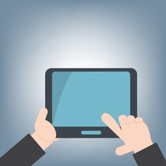 tablet in hand for web and mobile applications, mobile technology background concept, illustration vector in flat design
