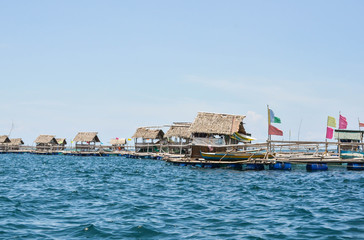 Floating fish cage or huts in the Philippines photograph image