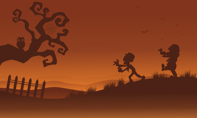 Silhouette of zombie and bat Halloween