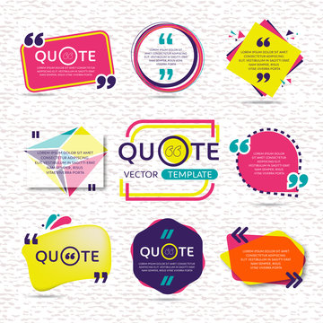 vector set of Creative quote text template with colorful background