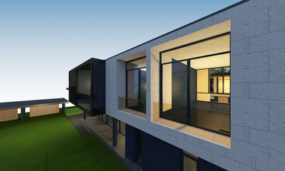 3D render of tropical house space with clipping path.