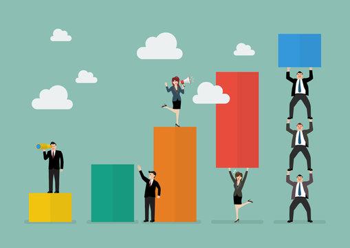 Business teamwork with bar chart