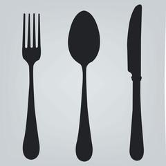Cutlery set illustration, fork, knife, spoon eps, logo