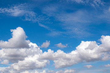 Fototapete - white fluffy clouds in the blue sky for background or backgrop n