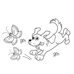 Coloring Page Outline Of cartoon dog with butterflies