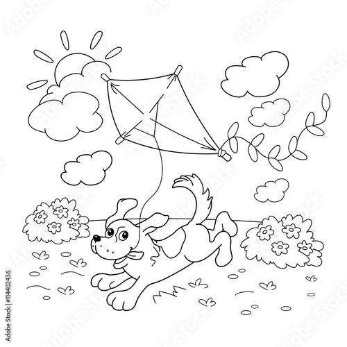 Coloring Page Outline Of Cartoon Dog With A Kite Coloring Book