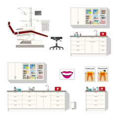 Set of different furniture for a dentist