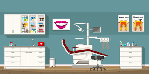 Illustration of a dentist room