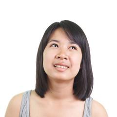 Asian lady isolated on white background