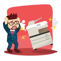 businessman panic because his photocopy machine was broken