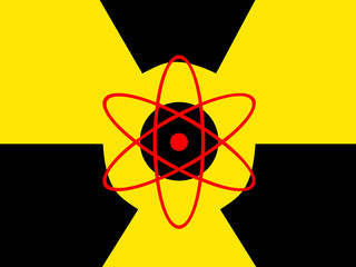 warning nuclear radiation icon symbol black on yellow screen