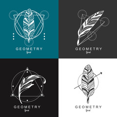feather logo design with geometric background.law logo. Vector illustration.