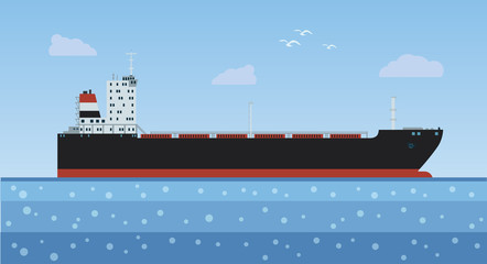Oil tanker with a cargo into the sea. Vector illustration.