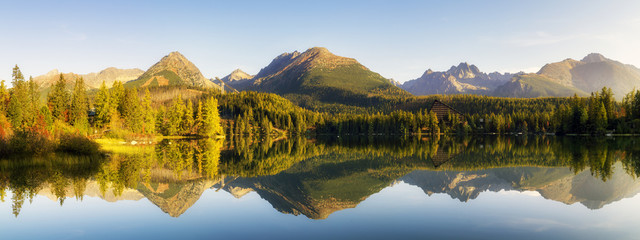 beautiful autumn morning over a mountain lake Strbske Pleso in the Tatra Mountains in Slovakia