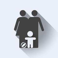 Family icon, flat design, isolated illustration, editable. Light background. - stock vector