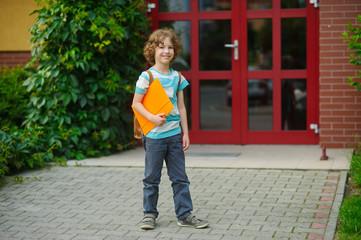 The schoolboy on a schoolyard.