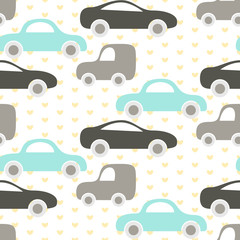 Car cute baby vector seamless pattern. Kid fabric and apparel design. Baby blue and grey cars on heart pattern.
