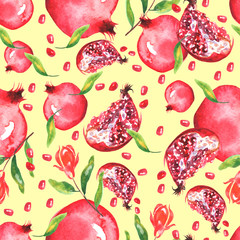Watercolor, vintage pattern - fruit ripe pomegranate.