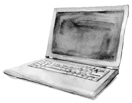 watercolor sketch of laptop on a white background