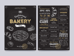 Bakery restaurant cafe menu template design on chalkboard background vector illustration