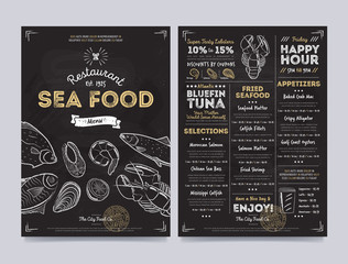 Seafood restaurant cafe menu template design on chalkboard background vector illustration