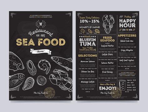 Seafood restaurant cafe menu template design on chalkboard background vector illustration