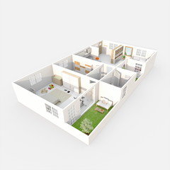 3d interior rendering perspective view of furnished home apartment with green patio: room, bathroom, bedroom, kitchen, living-room, hall, entrance, door, window,