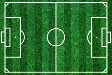 soccerball field green grass background. Flat lay
