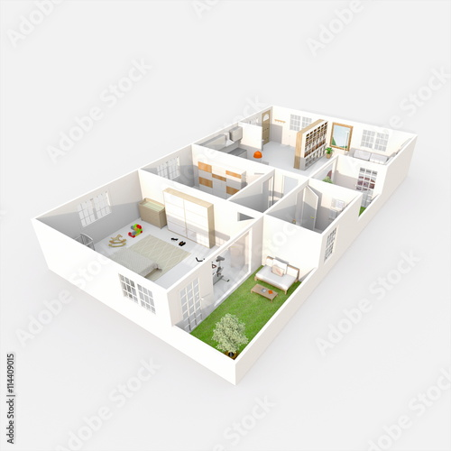 3d Interior Rendering Perspective View Of Furnished Home Apartment With Green Patio Room Bathroom