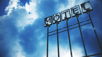 Old Grungy Motel Sign under Daytime Cloudy Sky 3D Illustration