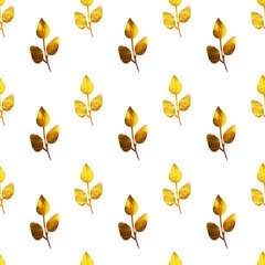 Seamless pattern with hand-painted golden branches with leaves