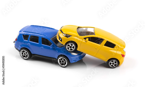 Quot car accident concept two toy cars isolated on white