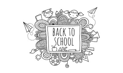 Back to School Blackboard Hand Drawn Doodle Vector Black and White