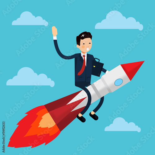 """""""Cute Businessman Characters On Rocket In The Sky"""" Fichier"""