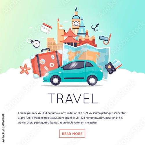 page web design template world travel travel by car summer vacation tourism and journey. Black Bedroom Furniture Sets. Home Design Ideas