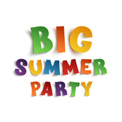 Big summer party poster template on white.