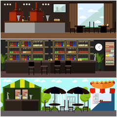 Vector set of brewery and beer restaurant concept banners. Street cafe.