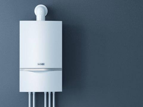 Modern home gas fired boiler. Heating a house concept. 3d render