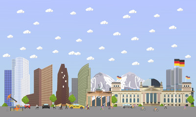 Travel to Germany concept vector illustration. Berlin city landscape. German landmarks and destinations