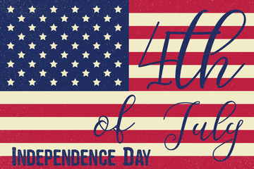 Fourth of July. Independence day greeting card, poster, flyer. Patriotic banner for website template. July 4th typographic design. Vector illustration.