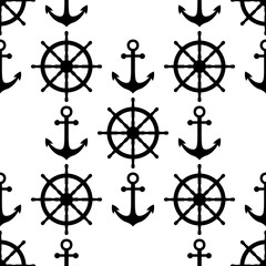 Marine background. Sea theme. Cute seamless pattern