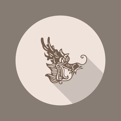 Ancient Chinese Dragon Icon, Flat Design
