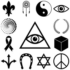 Religion, esoteric and mystery icons set. Vector illustration