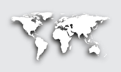Gray 3d world map.