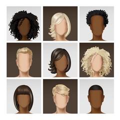 Multinational Male Female Face Avatar Profile Heads Multicolored Hairs Icon