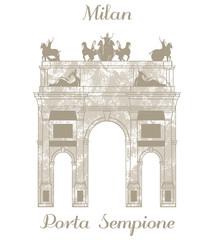 vector illustration of Porta Sempione in Milan