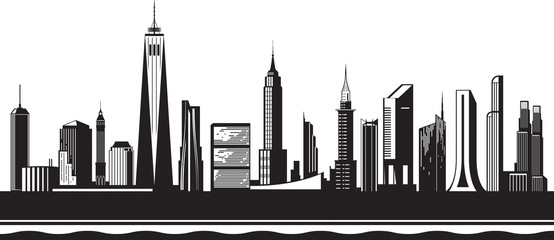 New York City silhouette by day - vector illustration